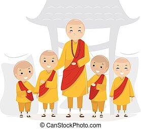 jongens, geitjes, stickman, monnik, illustratie