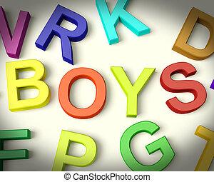 jongens, geschreven, in, veelkleurig, plastic, geitjes, brieven