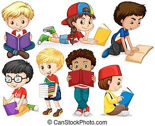 jongens, girl lezen, boekjes
