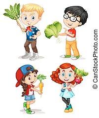 jongens, groentes, meiden, fris