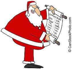 jongens, meiden, kerstman, lezende , goed, lijst