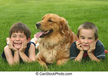 jongens, met, dog