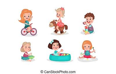 jongens, speelgoed, gevarieerd, vector, kleine meisjes, illustraties, hebben, ventilator, spelend, set, zes
