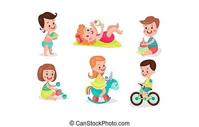 jongens, speelgoed, vier, gevarieerd, illistrations, vector, twee meisjes, hebben, ventilator, spelend, set