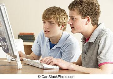 jongens, tiener, computer, twee, thuis