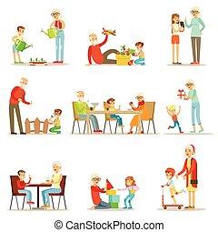 jongens, uitgeven, grootouders, meiden, verzameling, grootvader, grootmoeder, hun, vector, tijd, kleine, spelend, grandkids