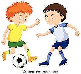 jongens, voetbal, spelen samen