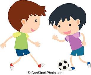 jongens, voetbal, twee, spelend
