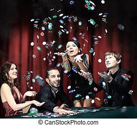 jongeren, hebben, een, goede tijd, in, casino