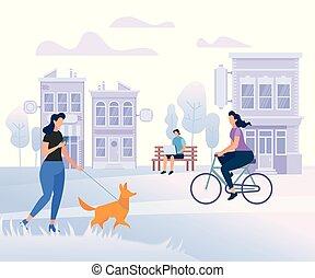 jongeren, karakters, wandelende, in, city., levensstijl