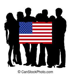 jongeren, met, een, vlag, van, usa