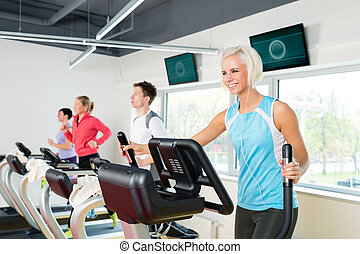 jongeren, op, fitness, tredmolen, rennende , oefening