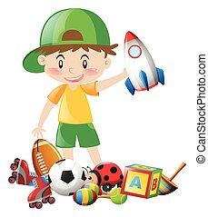 jongetje, en, velen, speelgoed
