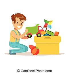 jongetje, en, velen, speelgoed, in, een, doosje, onderdeel van, grootouders, hebbend plezier, met, kleinkinderen, reeks