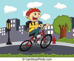 jongetje, het berijden van een fiets