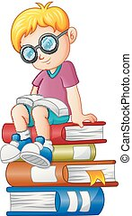 jongetje, het boek van de lezing, op, de, stapel, van, boek