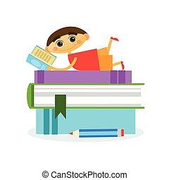 jongetje, het liggen, op, stapel boeken, lezende , schattig, geitje