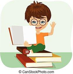 jongetje, het tonen, een open boek, zittende , op, stapel boeken