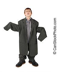jongetje, in, groot, grijze , man's, kostuum, laarzen, en,...