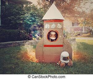 jongetje, in, karton, raketschip