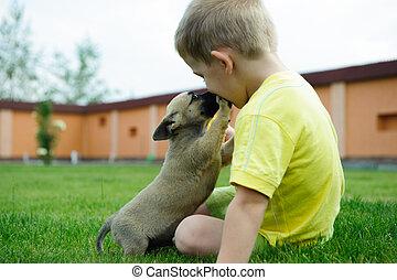 jongetje, kussende , met, zijn, schattig, dog