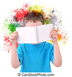 jongetje, lezende , kunst boek, met, verf , op wit