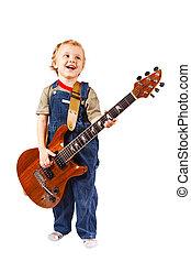 jongetje, met, elektrische guitar, op wit, achtergrond