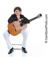 jongetje, musicus, spelende guitar