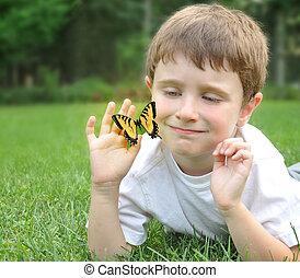 jongetje, pakkend, lente, vlinder, buiten