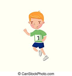 jongetje, rennende , geitjes, lichamelijke activiteit, spotprent, vector, illustratie