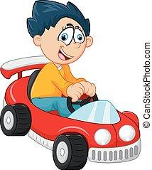 jongetje, spelend, met, zijn, auto, speelbal
