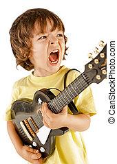jongetje, spelende guitar