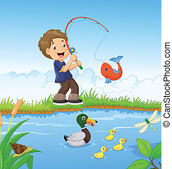jongetje, visserij, spotprent