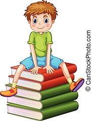 jongetje, zittende , op, stapel boeken