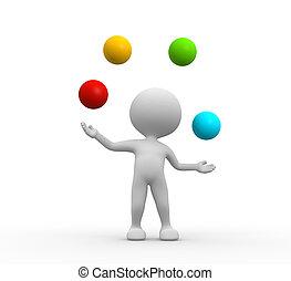 jonglera, med, a, klumpa ihop sig