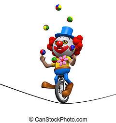 jonglera, unicycle, highwire, clown, 3