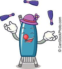 jonglerie, planche, dessin animé, fer, mascotte