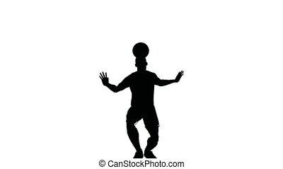 jongleries, joueur, tête, balle, football
