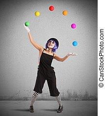 jongleur, aimer, clown