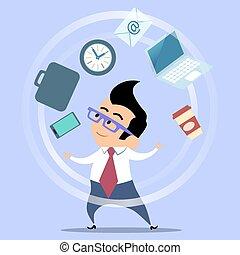 jongleur, büroangestellte, planung, zeit, geschäftsmann