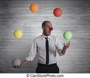 jongleur, geschäftsmann