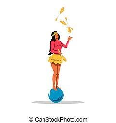 jongleur, girl, vecteur, dessin animé, illustration.