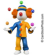 jongleur, weißes, leute., clown, 3d