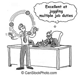 jongleur, werk, uitstekend, juggling, exec
