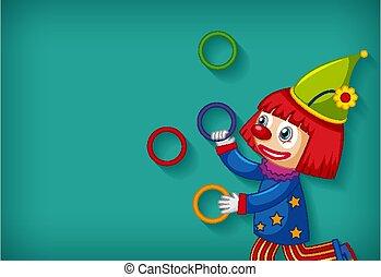 jonglieren, schablone, reifen, hintergrund, design, glücklich, clown