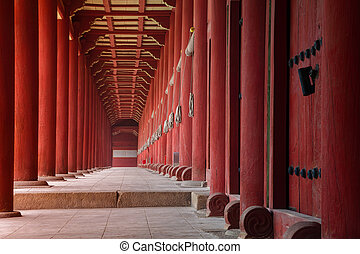 Image of Jongmyo Shrine in Seoul, Korea.