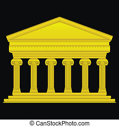 jonisk, tempel, guld