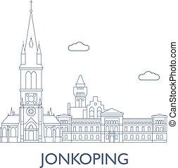 jonkoping., cidade edifícios, famosos, maioria
