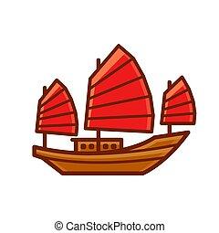jonque, chinois, bateau, icône