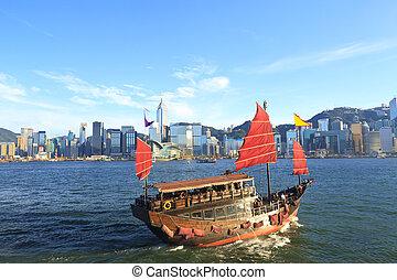jonque, hong, port, kong, long, victoria, bateau
